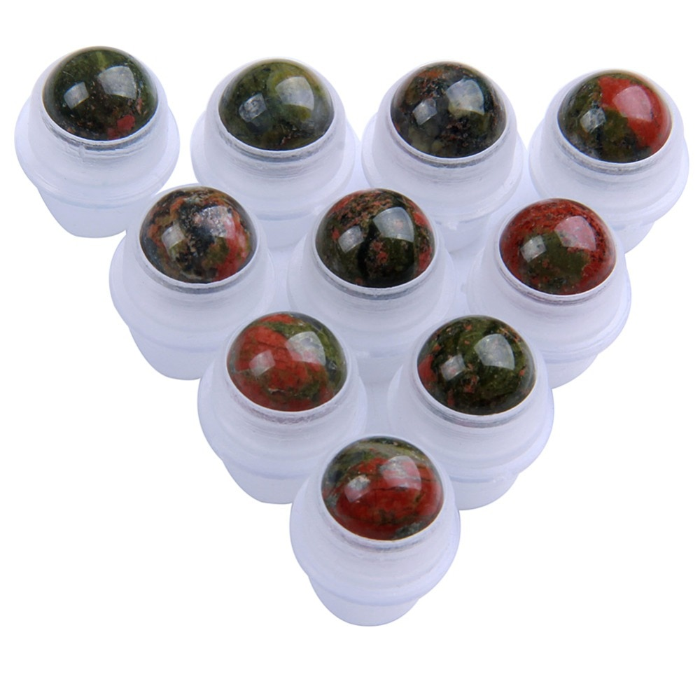 10 piezas de piedras naturales de Unakite para botella de Perfume de aceite esencial bolas de rodillo de piedras preciosas recargables 10mm para botellas de 10 ml personalizado