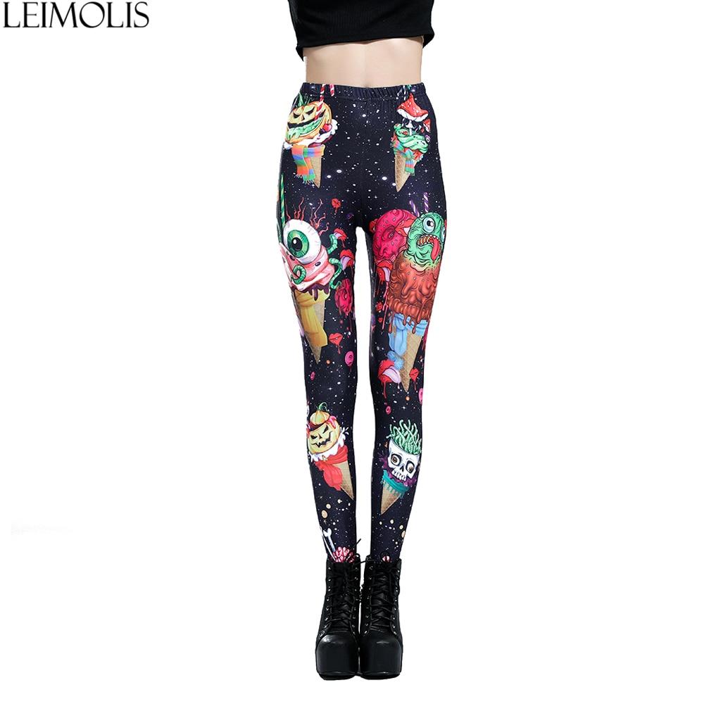 LEIMOLIS 3D impresión helado monstruo negro harajuku gótico sexy de talla grande de cintura alta push up fitness polainas pantalones de las mujeres