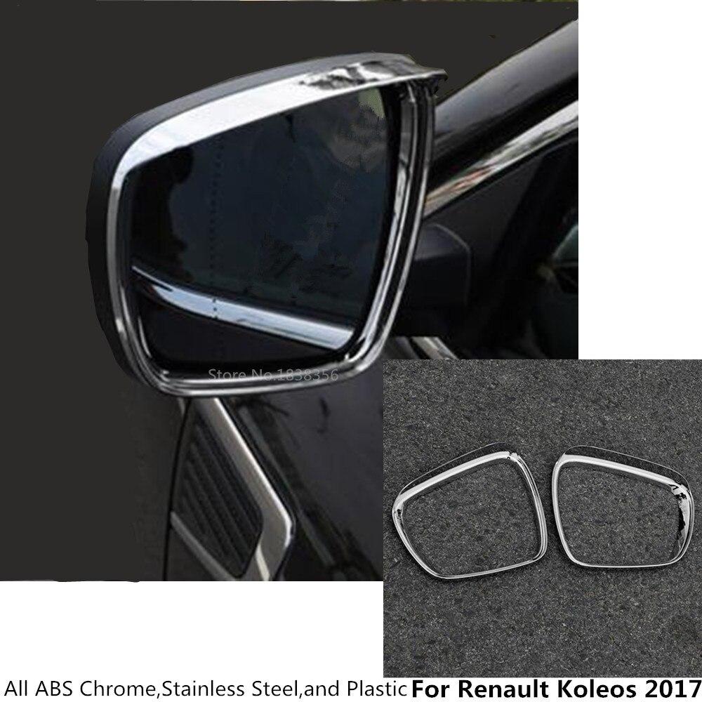 For Renault Koleos 2017 2018 2019 2020 Body Rear Rearview Glass Mirror Rain Eyebrow Shield Sun Visor Shade ABS Chrome 2pcs