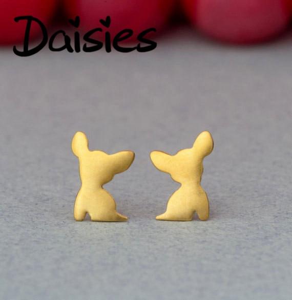 Daisies 1Pair Chihuahua Animal Dog Charm Stud Earrings Brincos Bijoux Statement Earrings For Women B