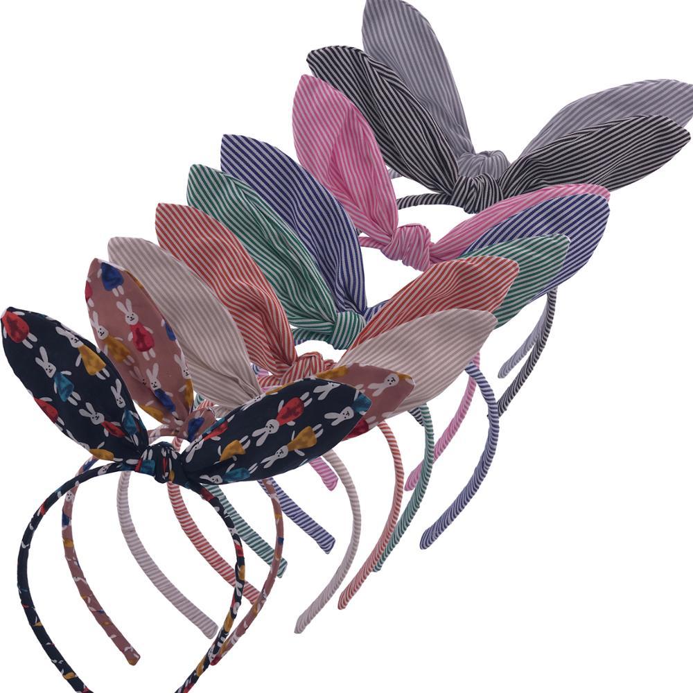 Baby Girls Rabbit ears Headbands Bunny ear Fabric bow Hairbands Hair hoop Boutique tiara Hair bows Accessories Headwear