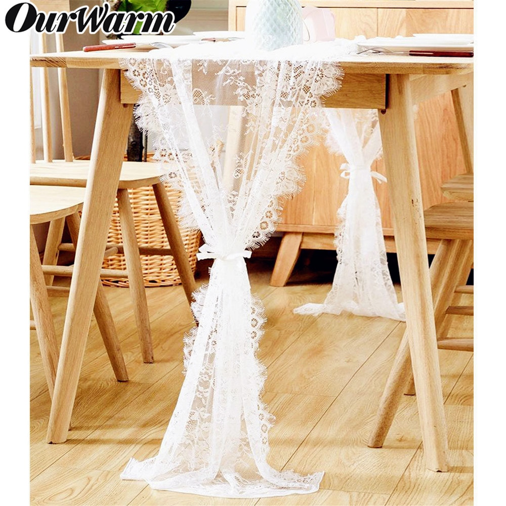 AliExpress - OurWarm White Floral Lace Table Runner Rose Table Cloth Chair Sash Dinner Banquet Baptism Wedding Party Table Decoration 300cm