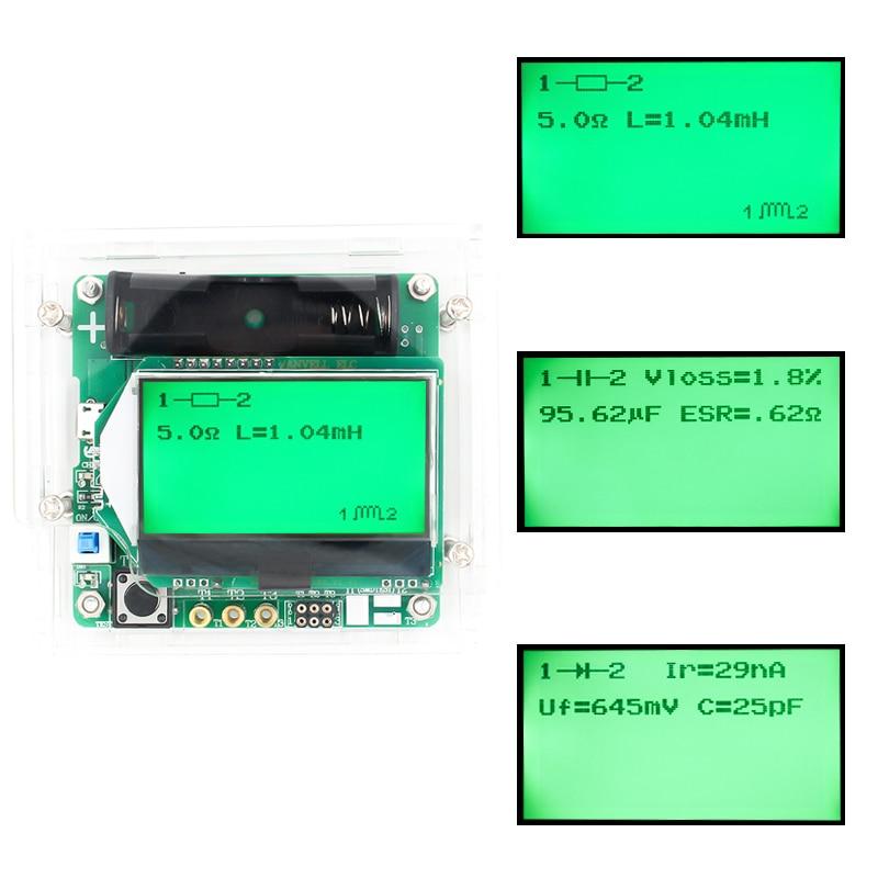 Новый 3,7 В версия индукторного конденсатора ESR метр DIY MG328 Многофункциональный Транзистор тестер с акриловой оболочкой