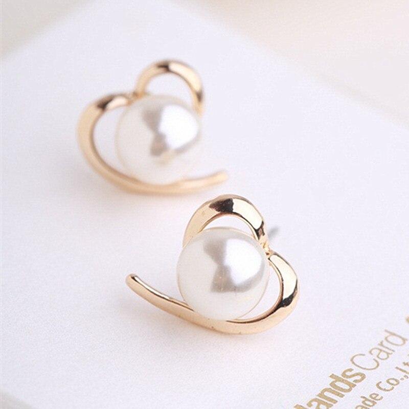 Pendientes de corazón para mujer, joyería de moda Brincos, perlas simuladas, pendientes 2018, pendientes de mujer, joyería, gran oferta