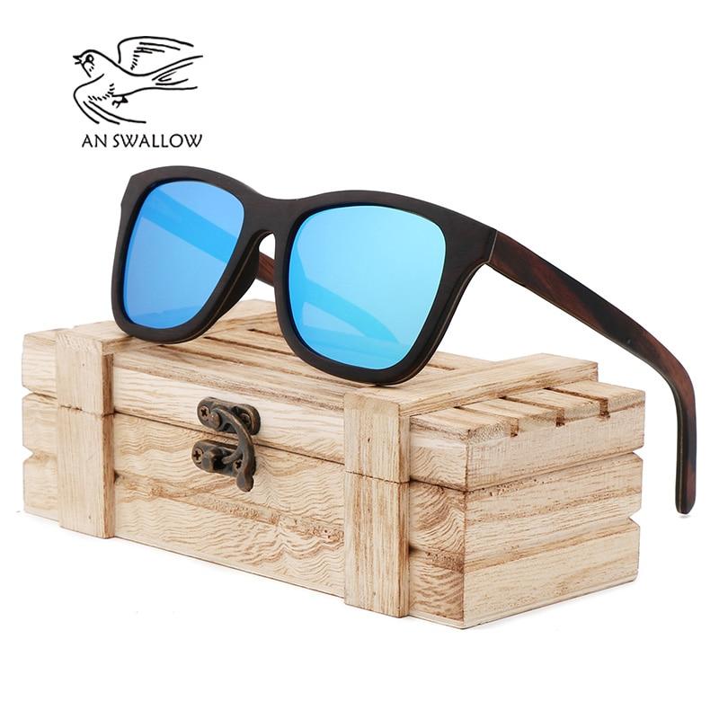 Retro ebonypear 100% gafas de sol de madera de bambú caso de madera puramente hecho a mano conducir hombres mujeres gafas de sol de madera hombres Oculos de sol