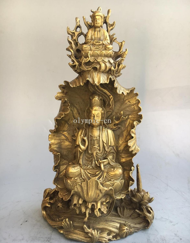 7,5 latón tallado lotus Vairocana Buda Avalokitesvara Guanyin Kwan-yin estatua