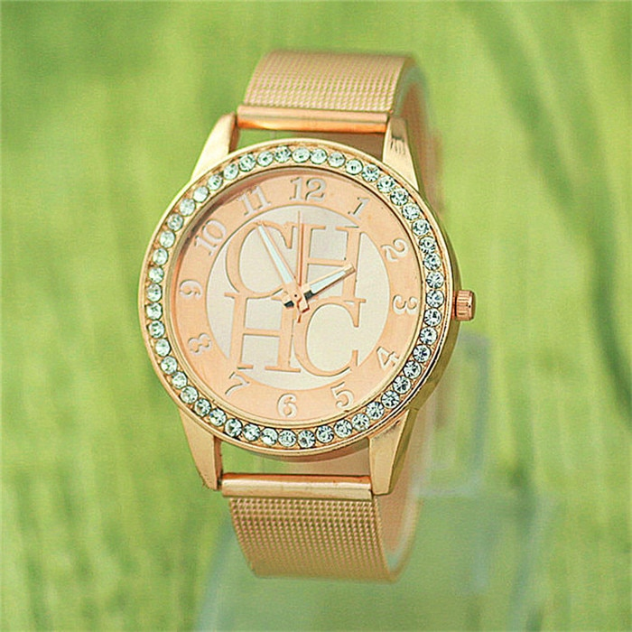 2019 New Geneva Brand Fashion Crystal Women Watch Stainless Steel Mesh Belt Quartz Watch Men's Clock Hot Sale Girl gift kobiet