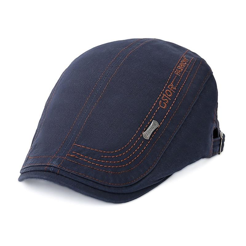 2019 New Arrival Cotton Letter Embroidery Adjustable Peaked Beret Hat Patchwork Plaid  For Men Adult Cabbie Caps