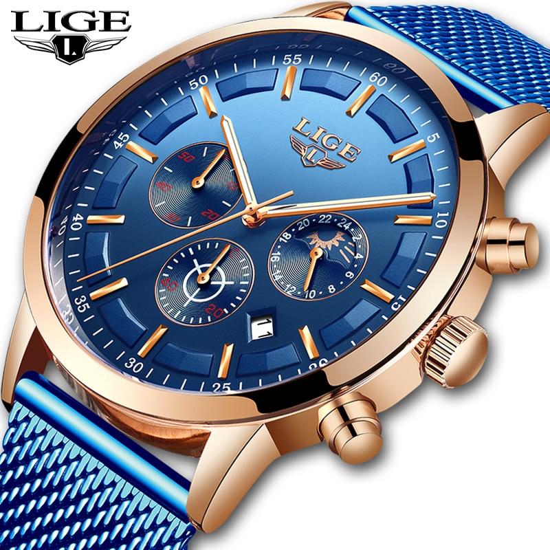 Mens Watches Top Brand LIGE 2019 New Men's Fashion Luxury Stainless Steel Quartz Watch Men Casual Sport Waterproof Watch Relojes