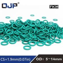 10 Stks/partij Rubber Ring Groene Fkm O-ringen Seal 1.9Mm Dikte Od 5/6/7/8/9/10/11/12/13/14Mm Oring Seal Olie Pakking Brandstof Wasmachine