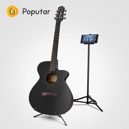 Poputar P1 40 بوصة الذكية التطبيق-التحكم الخشب الغيتار الشعبية مع حقيبة/كابو/يختار/سلاسل/حامل