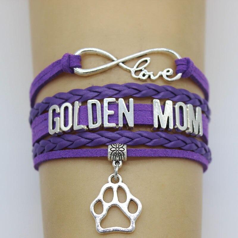 Infinity love Golden Mom Bracelet Dog Pet Paw Charm leather Wrap Bracelets & Bangles for Women Jewelry Gift Customize