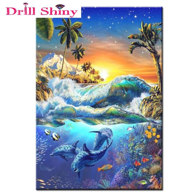 5D DIY pintura de diamantes olas del mar y delfines punto de cruz de diamantes bordado mosaico para la decoración de la habitación del hogar