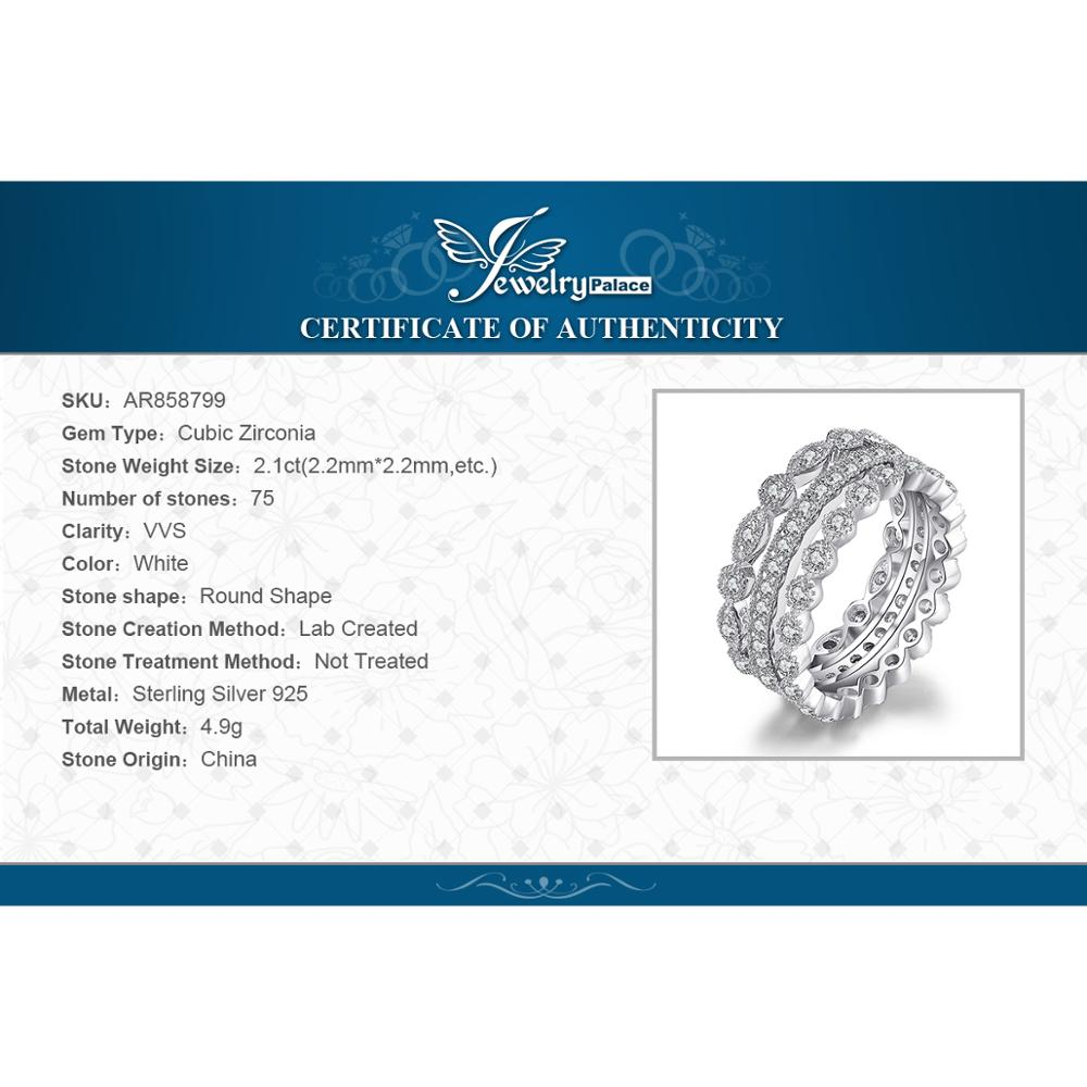 Купить с кэшбэком JewelryPalace 925 Sterling Silver Ring, Cubic Zirconia Stackable Ring Set, Wedding Band Rings Simulated Diamond Rings for Women
