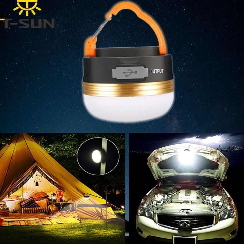 Luz LED de T-SUNRISE para acampada, iluminación para exteriores, luz recargable, foco portátil, luces magnéticas para colgar en blanco cálido para la tienda