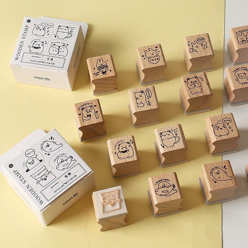 Kawaii hámster conejo sello set DIY artesanía de madera de goma sellos para álbum de recortes papelería scrapbooking estampilla estándar
