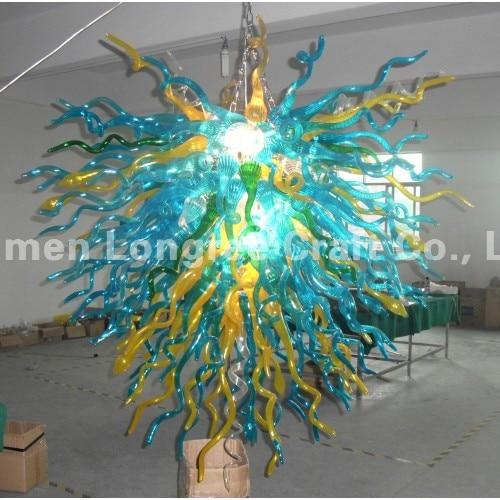 24 بوصة الروطان الفيروز الأزرق اليدوية LED الثريات الزجاج المنفوخ