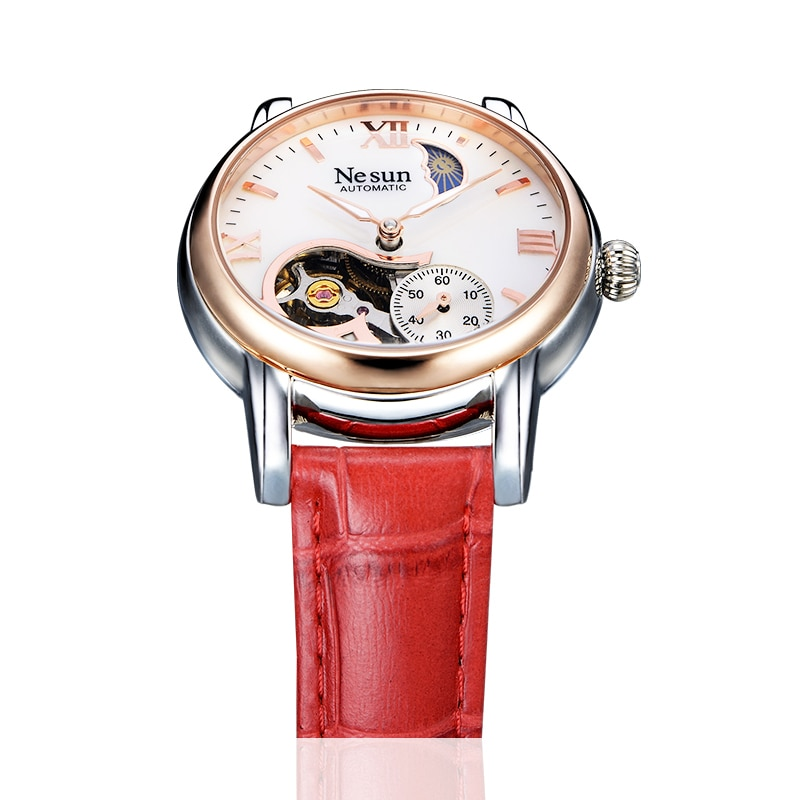 Switzerland New Luxury Brand Nesun Hollow Women Watch Automatic Self-Wind Genuine Leather Clock Waterproof Watches women N9061-6 enlarge