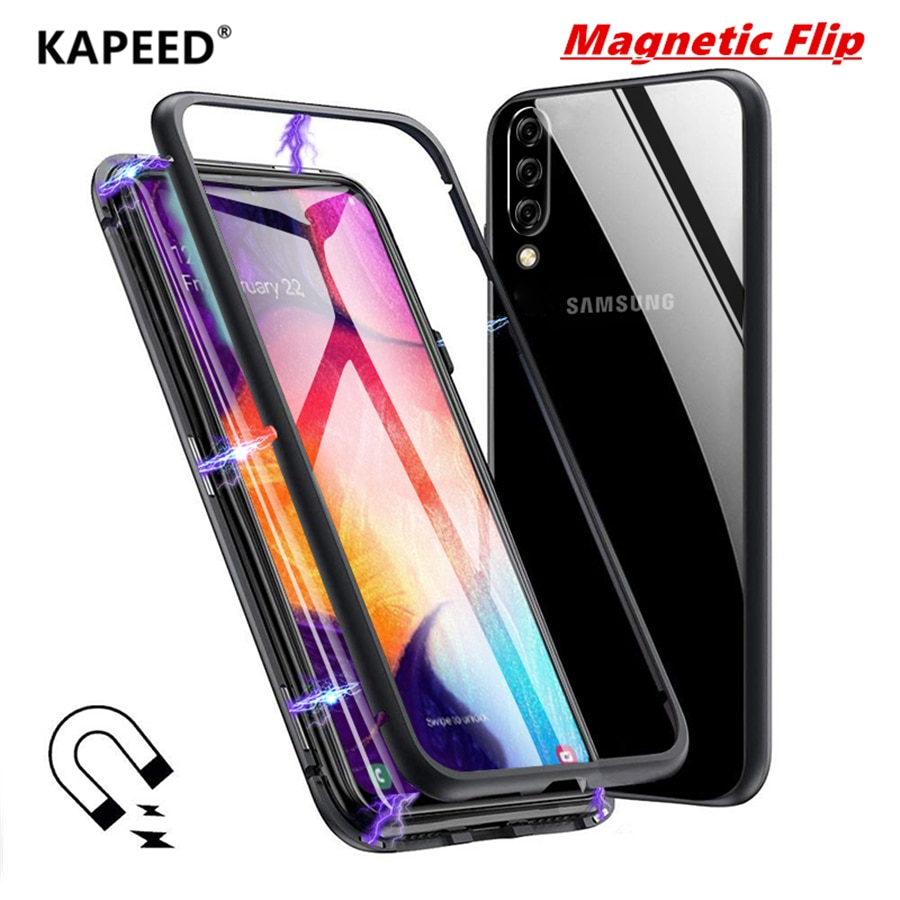 Funda abatible funda para Samsung Galaxy A50 KAPEED magnética transparente de vidrio templado para teléfono con marco de metal para Samsung Galaxy A30 Coque