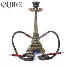Paris Tower Hookah Double Tube Set Hookah Shisha Narguile Charcoal Tigela Hookah Base KTV Bar Accessories Party Gifts
