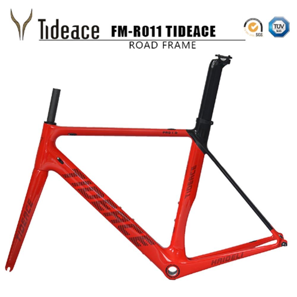 2018 Tideace carbon fiber bicycle frame Di2&Mechanical racing bike carbon road frame+fork+seatpost+headset for carbon road bike
