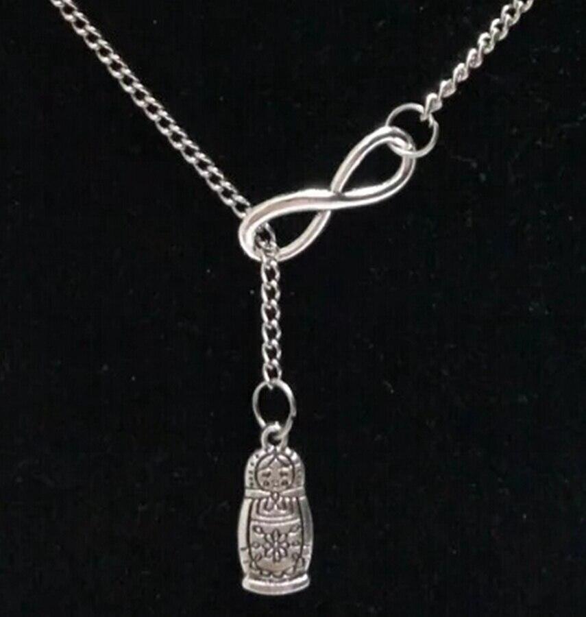 5 uds muñeca rusa Matryoshka Infinity Charms Collar suéter cadena colgante Collar tono cadena amuleto joyería regalo