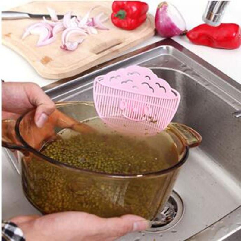 La sonrisa de Multi-función de tipo de limpieza tamiz para lavar arroz drenaje dispositivo de filtro de desechos no hace daño a las manos