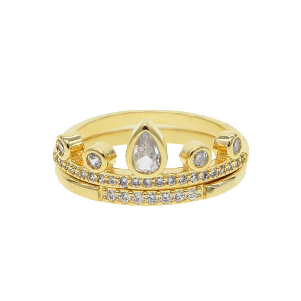 Clásico de oro delicado color pila apilable eternidad anillo cz piedra llena banda zirconia cúbico boda Compromiso 2pc anillo