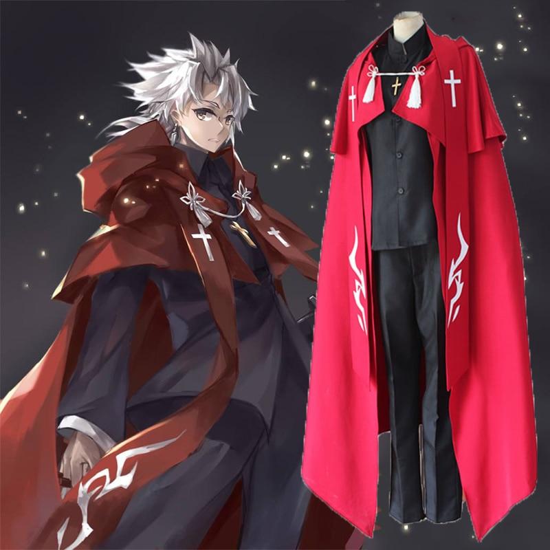 Disfraz Cosplay de Anime Fate Apocrypha Shirou Kotomine, disfraz de sacerdote, disfraz de Cosplay para fiesta de Halloween