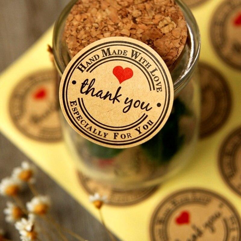 60 uds. Bolsas de regalo de etiquetas de embalaje gracias a la boda Navidad DIY pegatina fiesta festiva bolsas de regalo suministros de embalaje Decoración