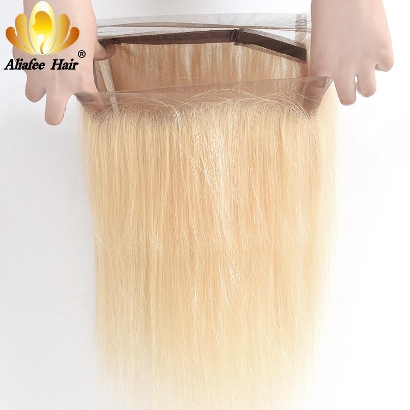 AliAfee Hair-وصلات شعر ريمي برازيلية طبيعية ، شعر ناعم ، لون أشقر #613 ، منتف مسبقًا ، 360 ، شحن مجاني