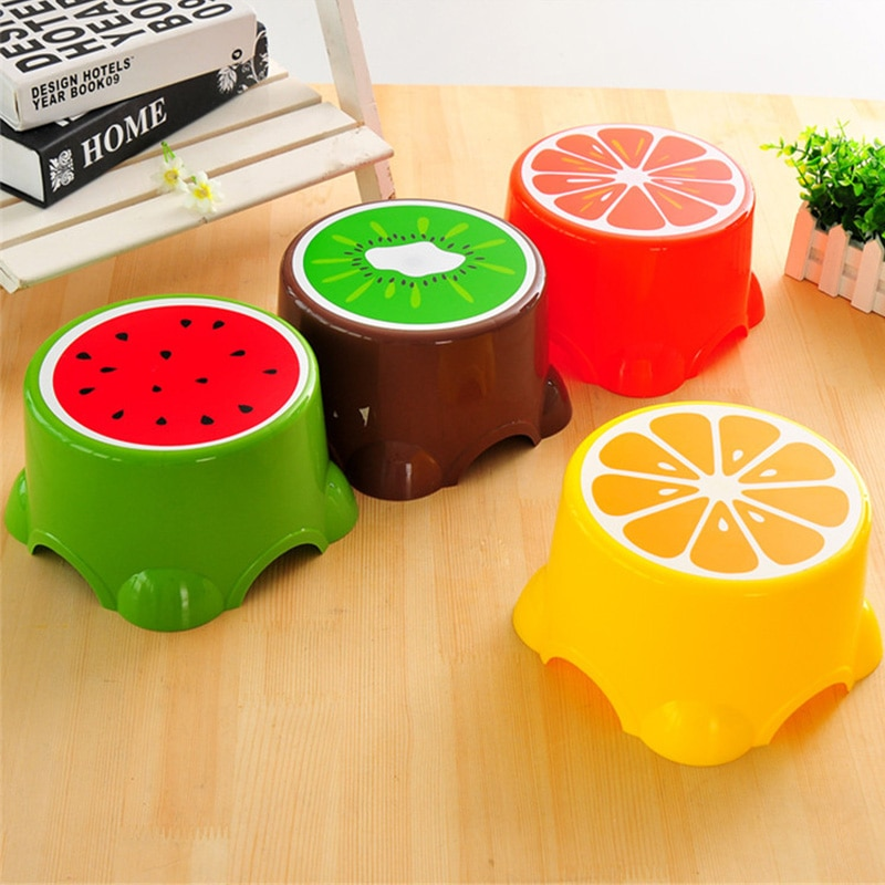 4 Colors Lovely Cartoon Stools Fruit Pattern Living Room Non-slip Bath Bench Child Stool Plastic PP Changing Shoes Stool