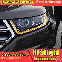 D_YL Car Styling for Ford Edge Headlights 2015 Edge LED Headlight DRL Lens Double Beam H7 HID Xenon bi xenon lens