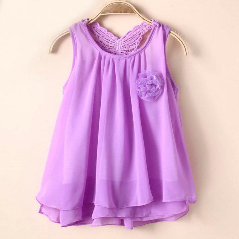 Vest Tutu Dress Tops Clothing 5 Color 2-7Y Baby Summer Sleeveless Sundress Kids Girls Chiffon New