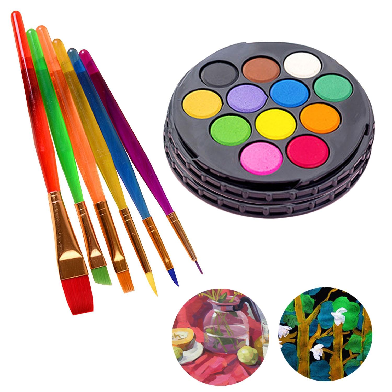 6PCS Colorful Nylon Hair Painting Brushes + 24-Color Watercolour Cakes Watercolor Paint Set for Kids Schools