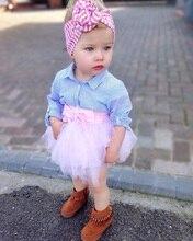 Ensemble de vêtements pour bébés filles 0-4T   Ensemble T-shirt à manches longues et à rayures + filet, avec nœud en voile, 2 pièces