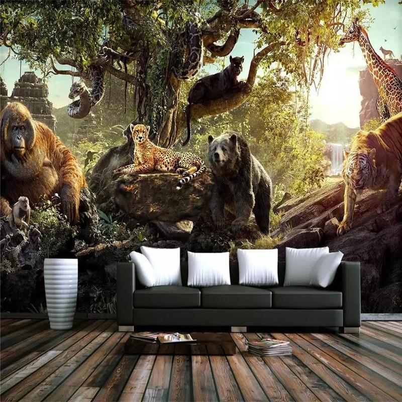 Пользовательские обои лес 3D Животный мир свежая детская комната фон украшение стены живопись Высококачественный водонепроницаемый матери...