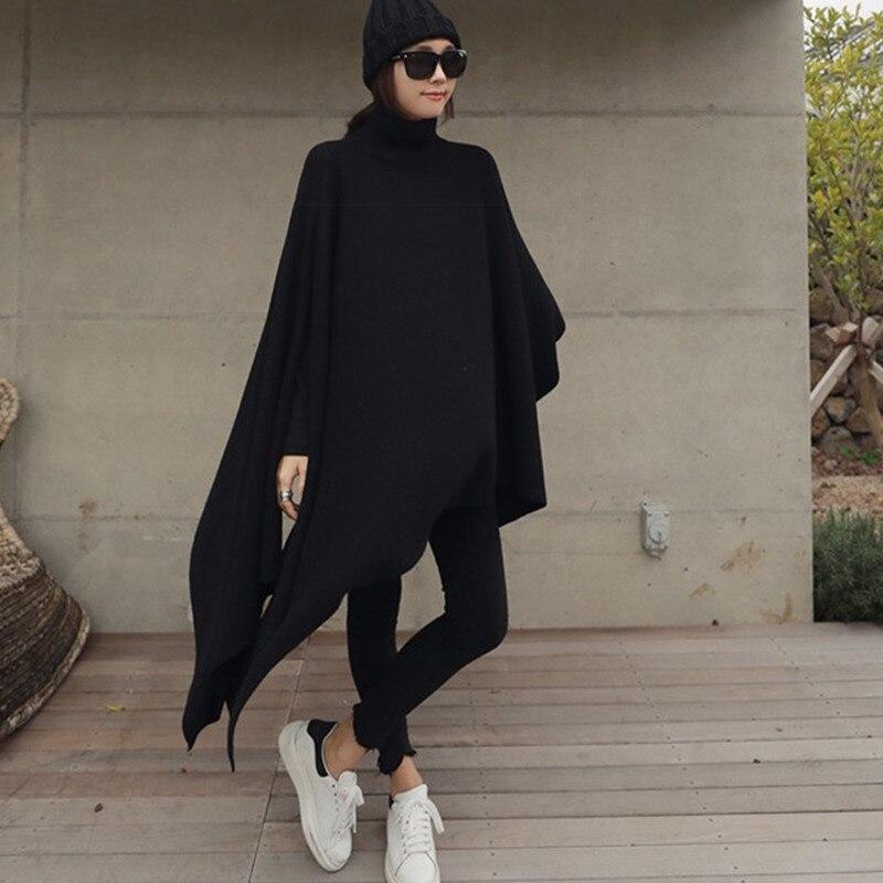 ¡Novedad de 2020! ropa de moda para mujer de DEAT, capa de manga de murciélago con cuello de tortuga, suéter holgado de lana y chal, tejido grueso WB80601
