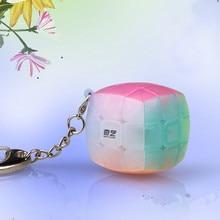 Qiyi 3x3x3 Mini llavero de Color jalea Bun Cubo de 3x3x3 de cadena colgante clave anillo pequeño bollo al vapor cubo mágico Mini juguetes educativos