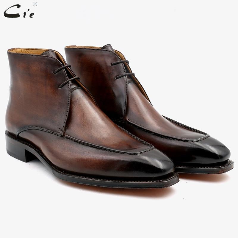 Cie الحبوب الكاملة حقيقية العجل أحذية عالية الساق من الجلد باتينا براون اليدوية جلد دربي حذاء من الجلد A06