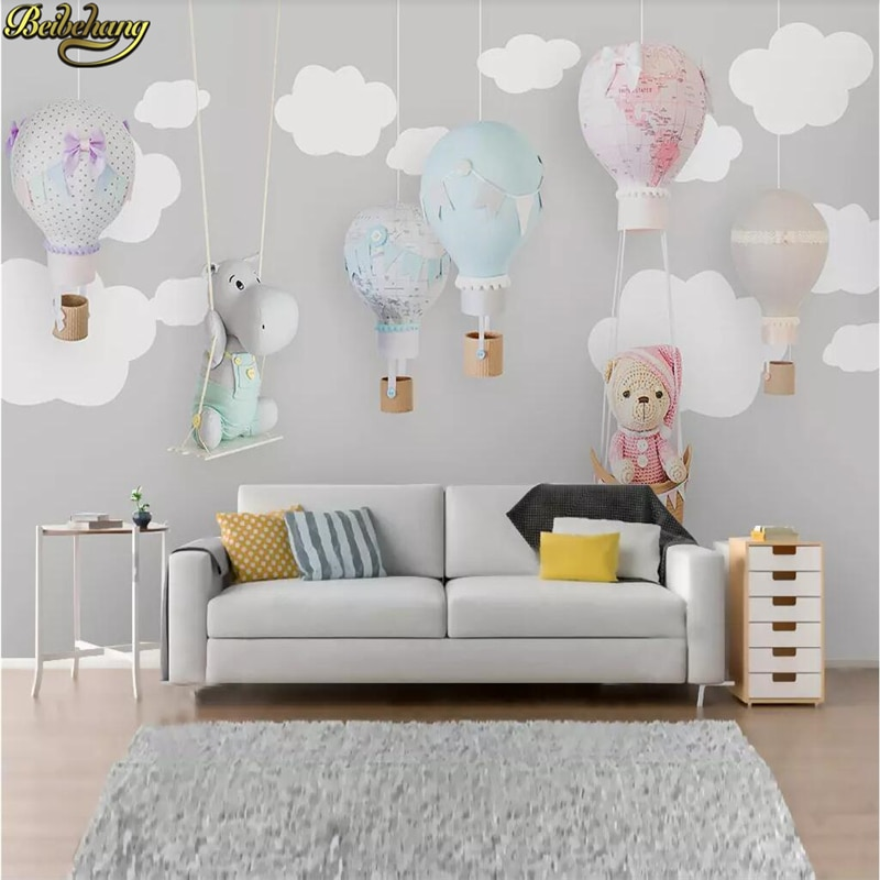 Beibehang пользовательские фото скандинавские минималистичные Мультяшные животные воздушные шары обои для детской комнаты фоновые обои для го...