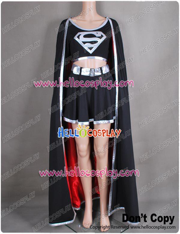 DC Comics Mal Supergirl Cosplay Traje Super Girl Vestido Preto H008
