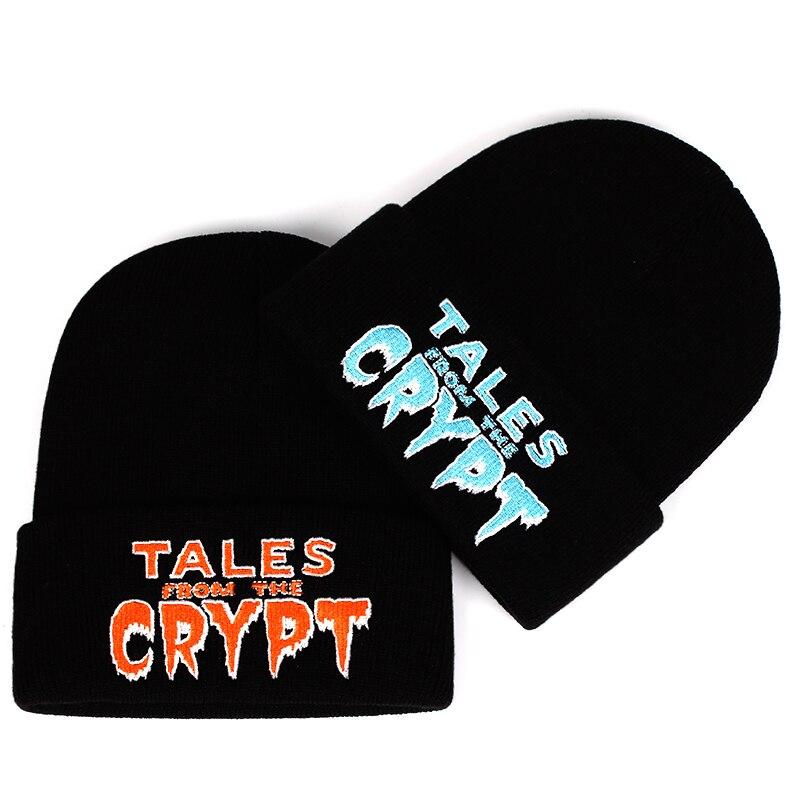 Tales de la Crypt sombrero de punto sombreros elástico marca bordado Beanie caliente invierno Skullies imagen de dibujo Ski Cap