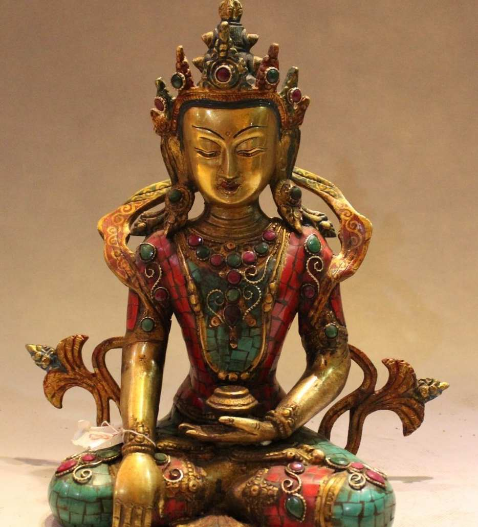 "10 ""El Tíbet Budismo Bronce Oro Turquesa Coral Gem Shakyamuni Buda Estatua"
