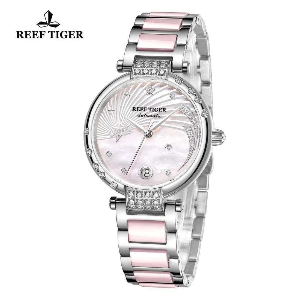 Reef Tiger/RT Luxury Brand Pink Automatic Calendar Watch Women Link Bracelet Watch Steel Diamond Ceramic Wrist Watches RGA1592 enlarge