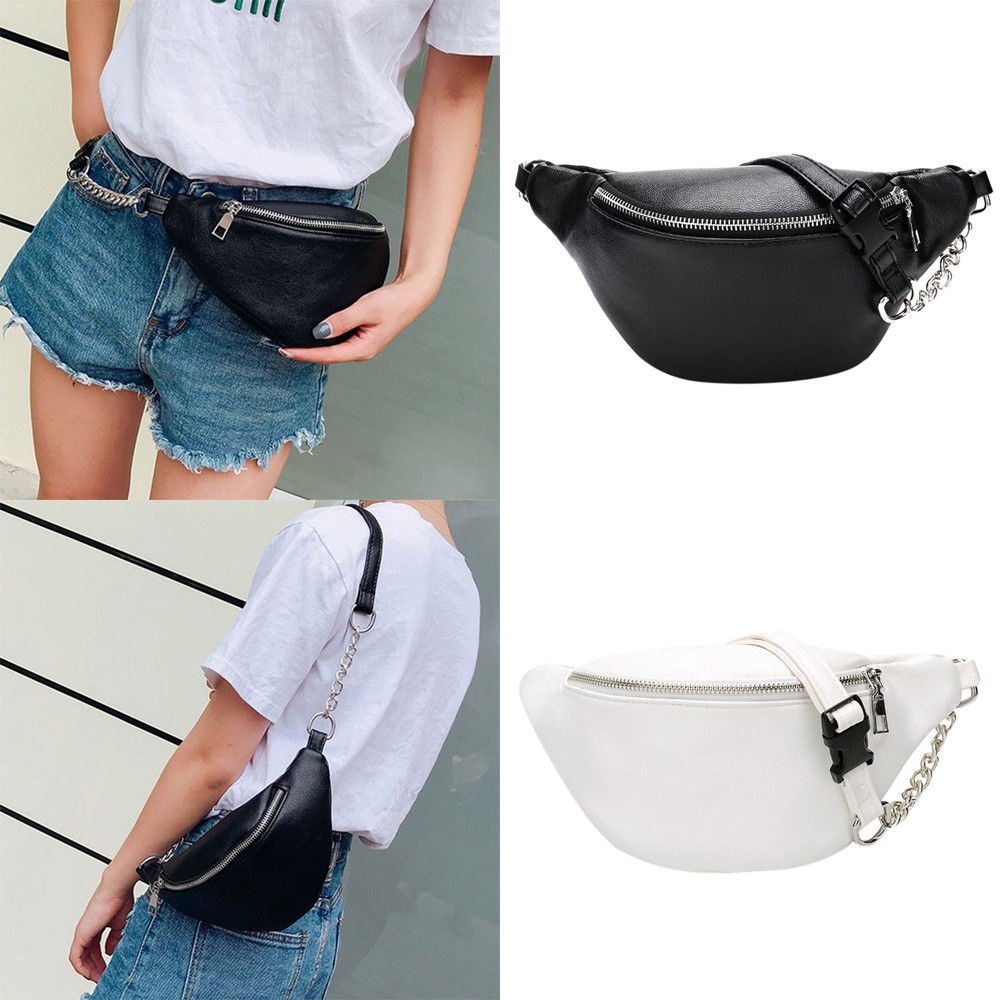 2019 Newest Style Women Men Waist Bag Fanny Pack PU Bag Belt Purse Small Purse Phone Key Pouch White Black Waist Packs