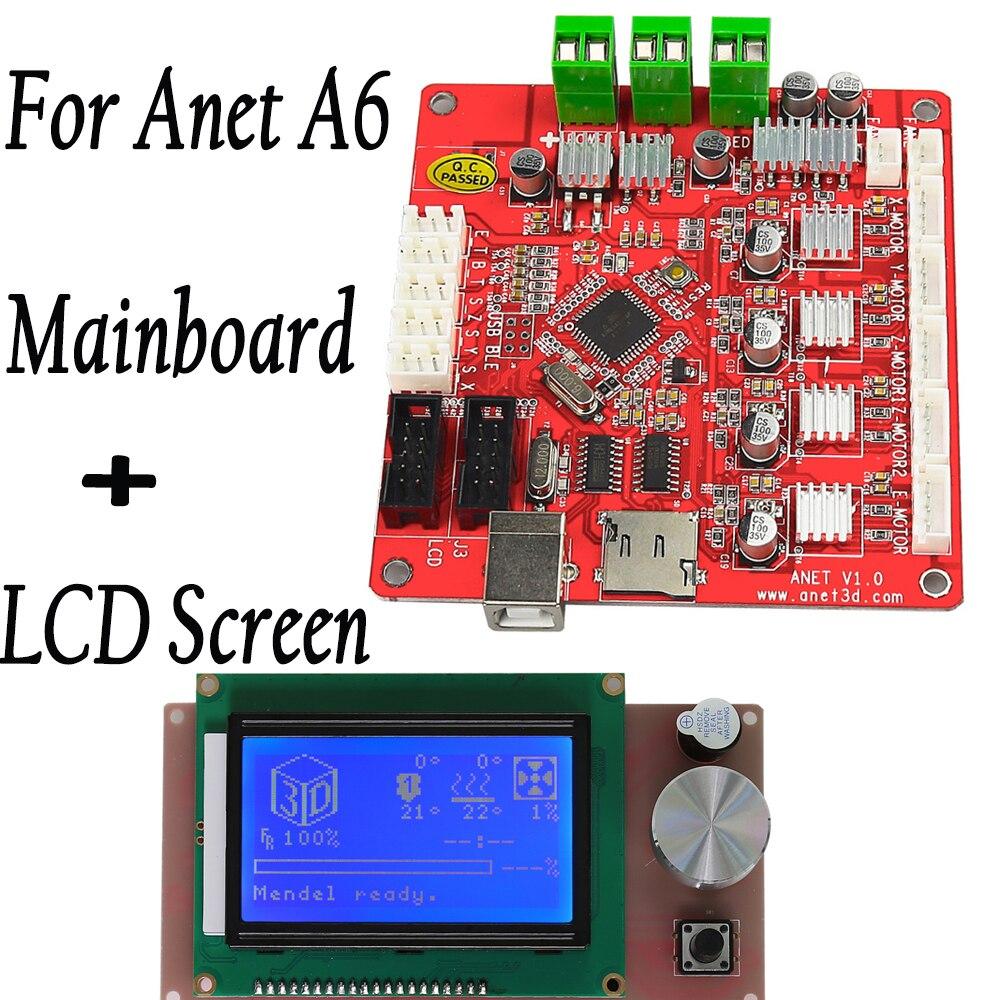 Anet-اللوحة الأم للطابعة ثلاثية الأبعاد A6 ، لوحة رئيسية V1.0 مع وحدة تحكم ذكية LCD 12864 ، RAMPS 1.4 شاشة زرقاء Reprap Mendel Prusa ، أجزاء طابعة ثلاثية الأبعاد