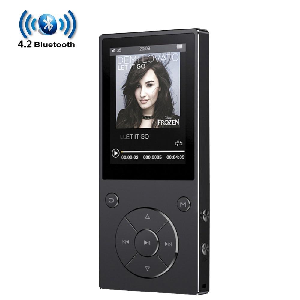 Reproductor de MP3 Bluetooth4.2 con altavoz de pantalla de 2,4 pulgadas, reproductor de música de alta fidelidad de Metal con radio fm, eBook hifi Walkman, soporte usb mini SD