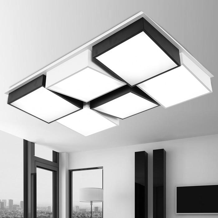 Luces Led simples modernas de acrílico para techo Color blanco/negro rectangular geométrico para sala de estar dormitorio aplique luz casa