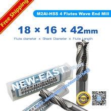 Vástago 16mm diámetro de la flauta 18mm 18*16*42*95mm 4 extremo de la onda rugosa de la flauta molino de borde de onda cortador M2AL-HSS
